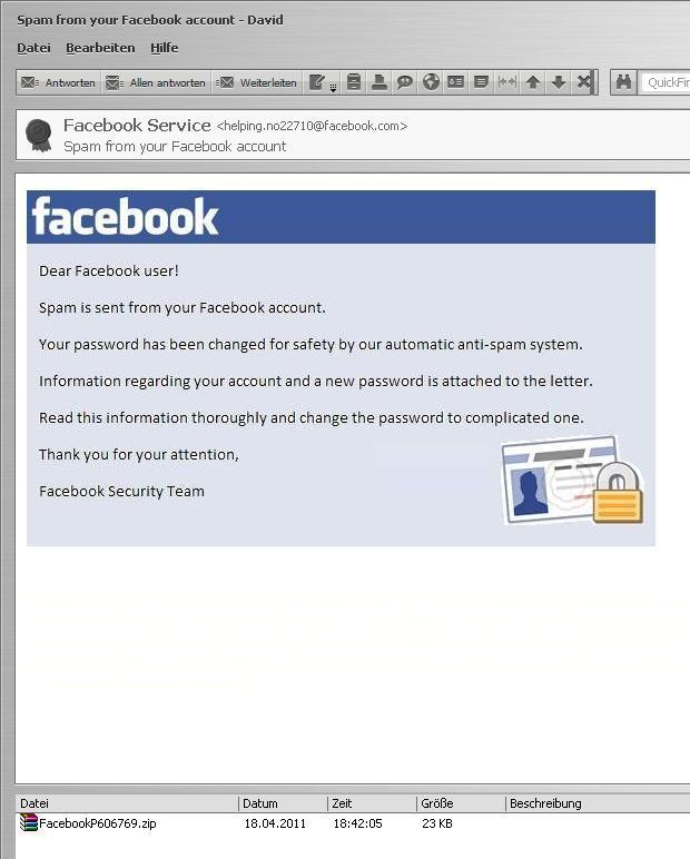 Screenshot einer vermeintlichen Facebook-Mail